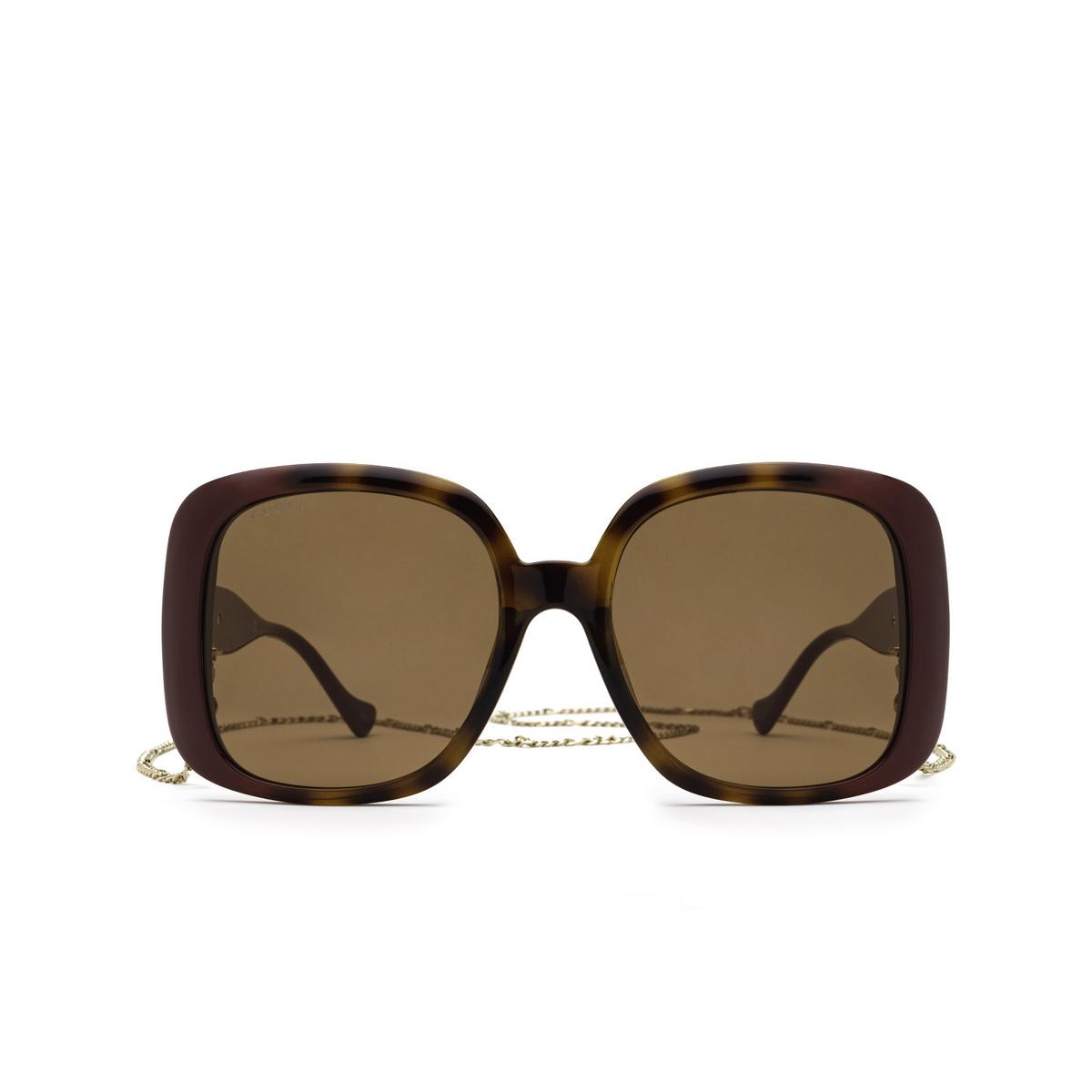 Gucci® Square Sunglasses: GG1029SA color Havana & Burgundy 003 - front view.