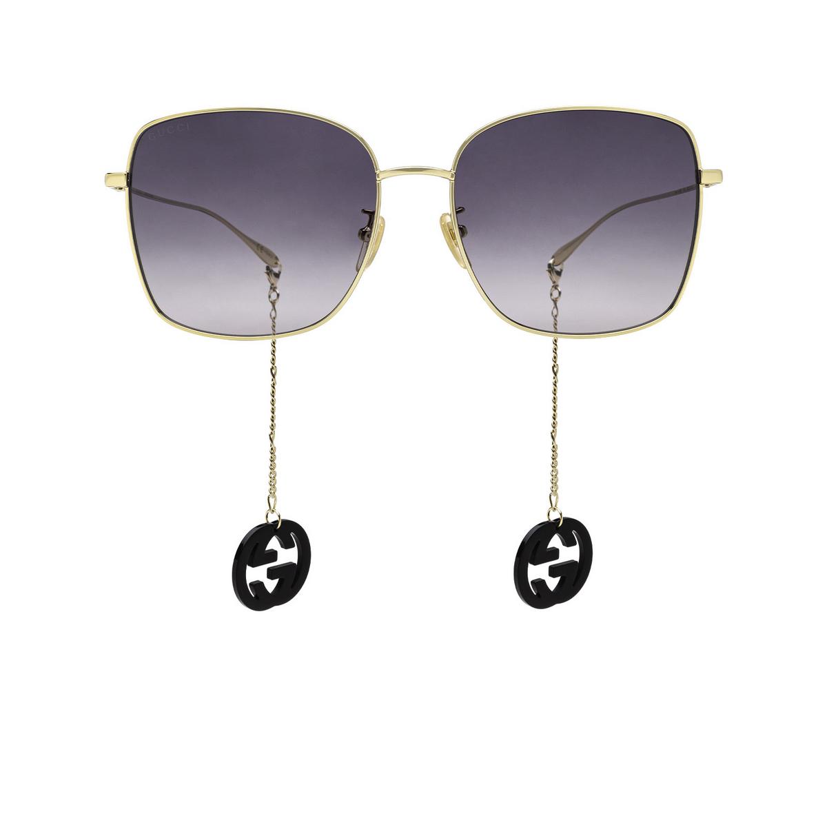 Gucci® Square Sunglasses: GG1030SK color Gold 001 - front view.