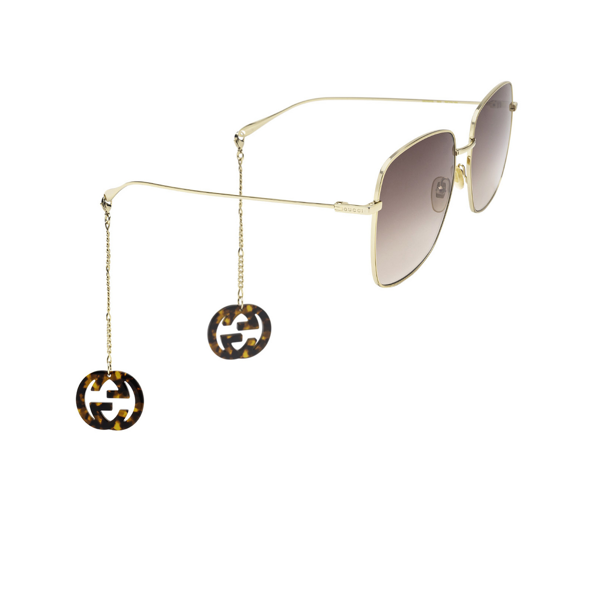 Gucci® Square Sunglasses: GG1031S color Gold 003 - three-quarters view.