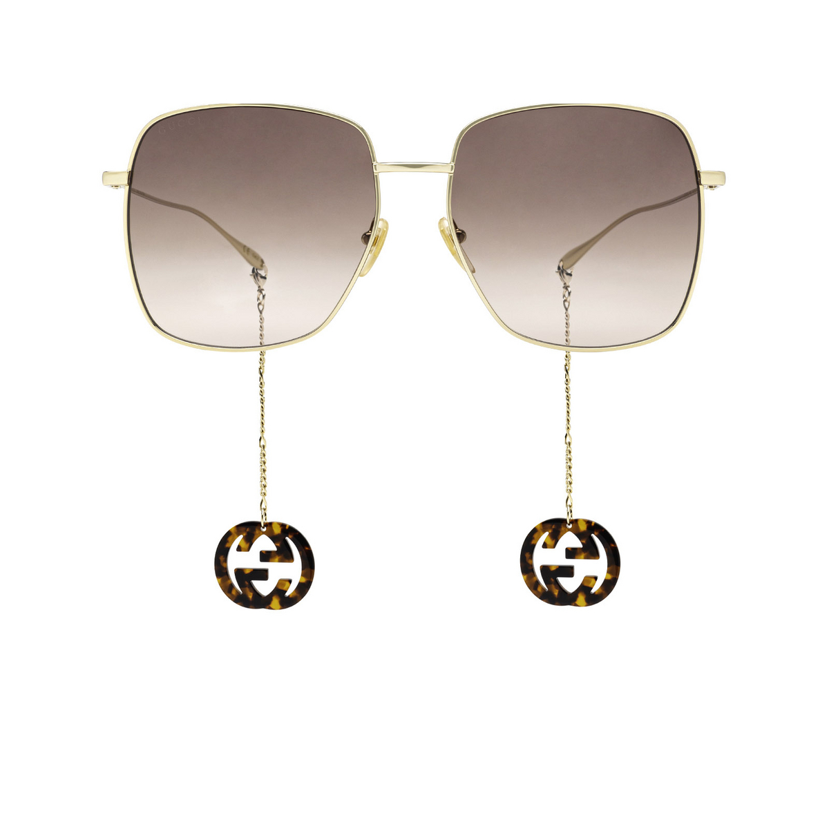Gucci® Square Sunglasses: GG1031S color Gold 003 - front view.