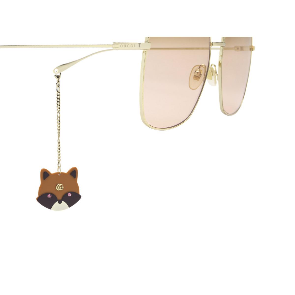 Gucci® Square Sunglasses: GG1031S color Gold 005 - 3/4.