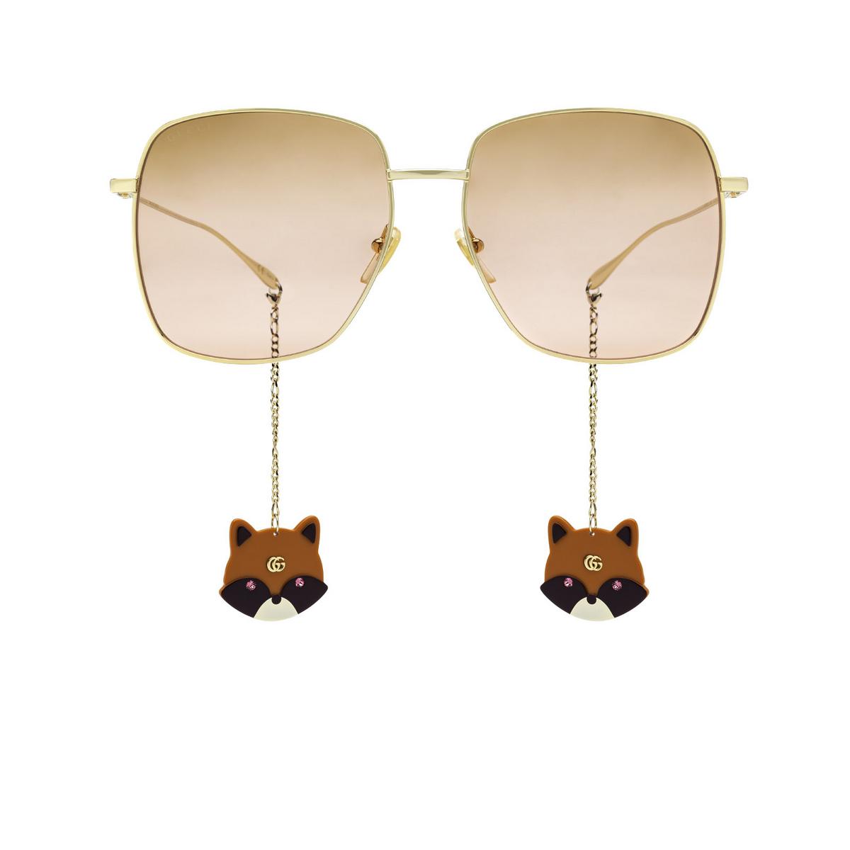 Gucci® Square Sunglasses: GG1031S color Gold 005 - front view.
