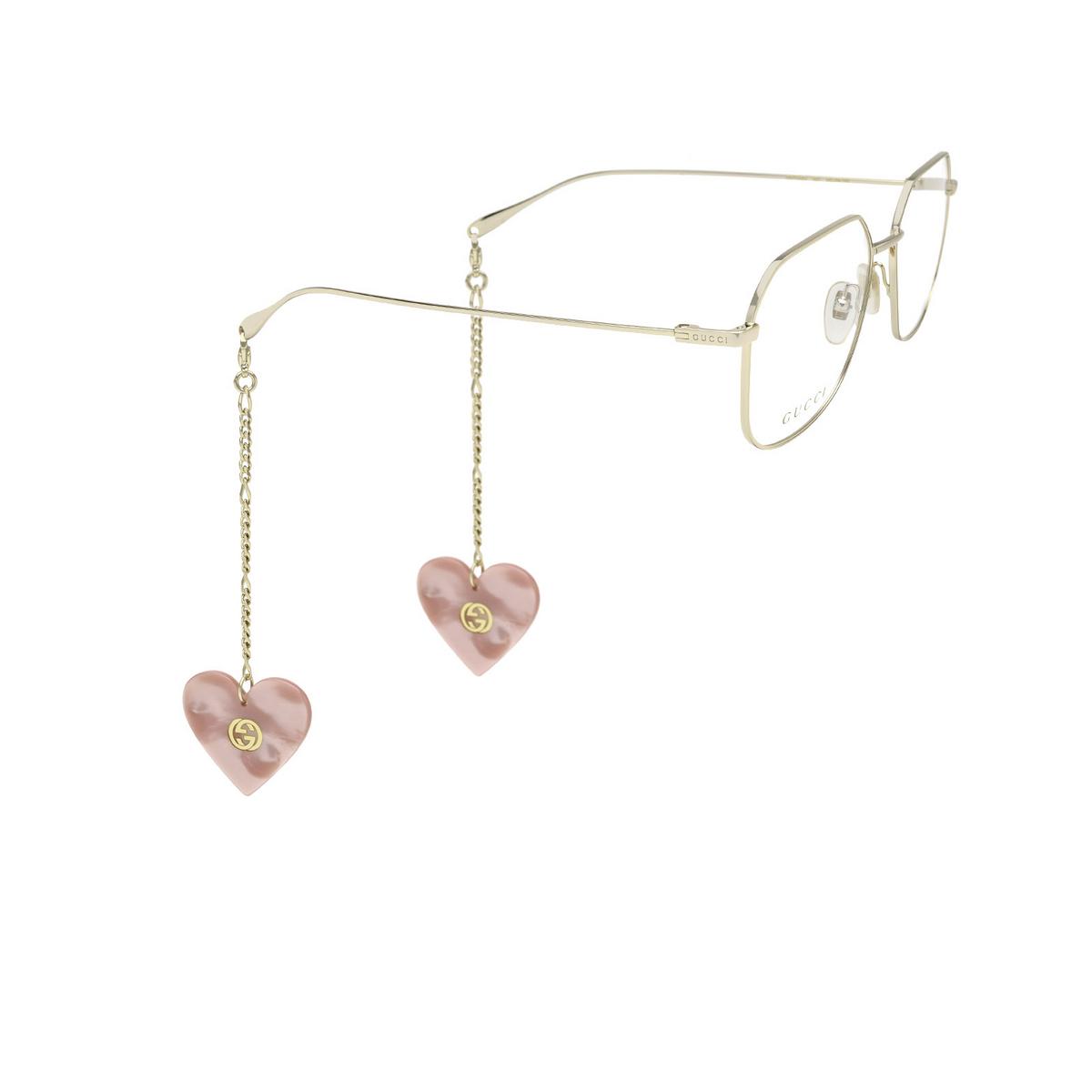 Gucci® Square Eyeglasses: GG1032O color Gold 001 - three-quarters view.