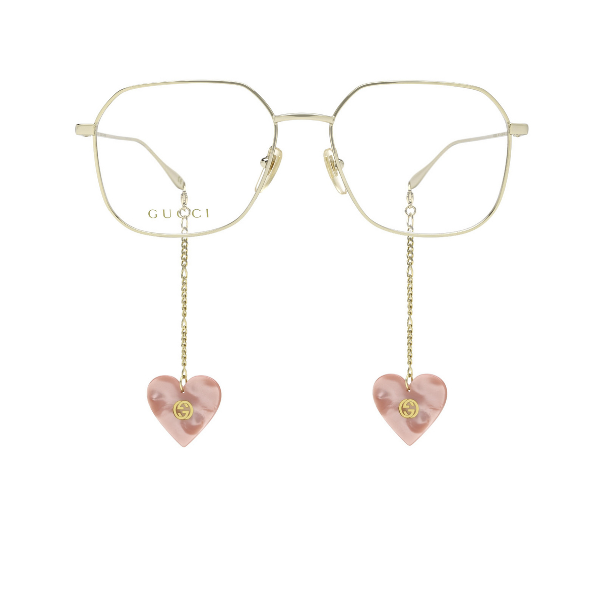 Gucci® Square Eyeglasses: GG1032O color Gold 001 - front view.