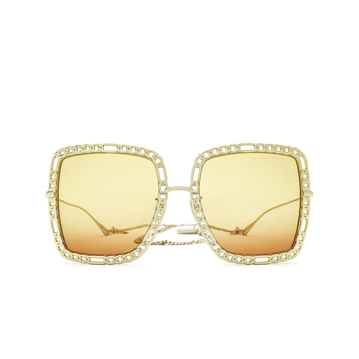 Gucci® Square Sunglasses: GG1033S color Gold 001 - front view.