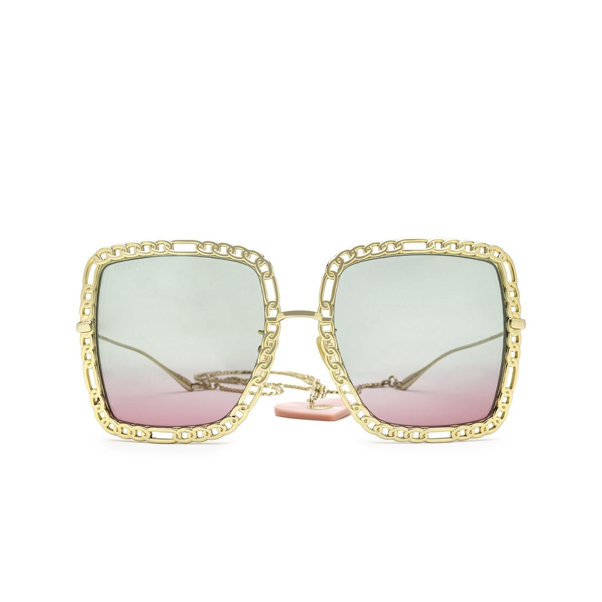 Gucci® Square Sunglasses: GG1033S color Gold 003 - front view.