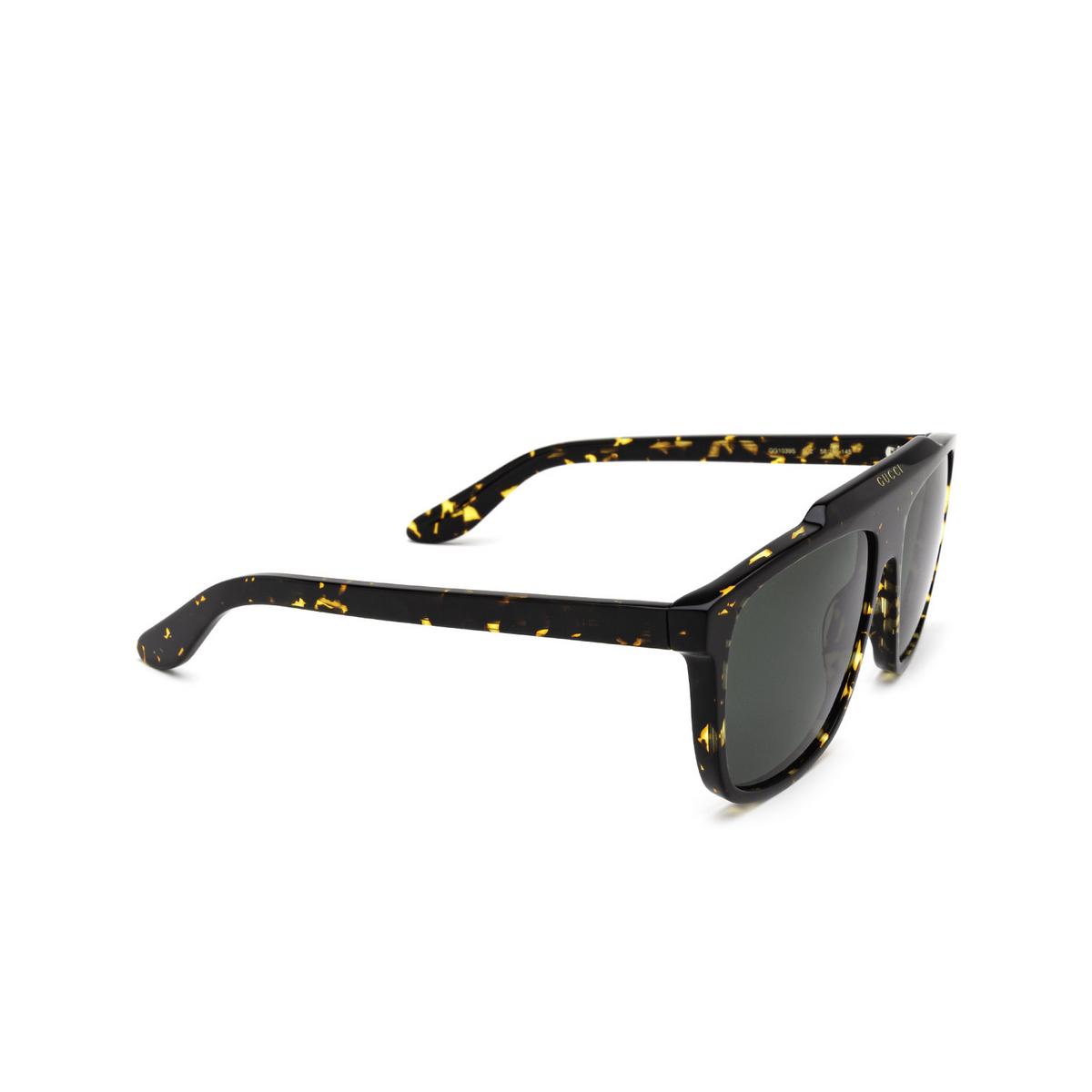 Gucci® Square Sunglasses: GG1039S color Havana 002 - three-quarters view.