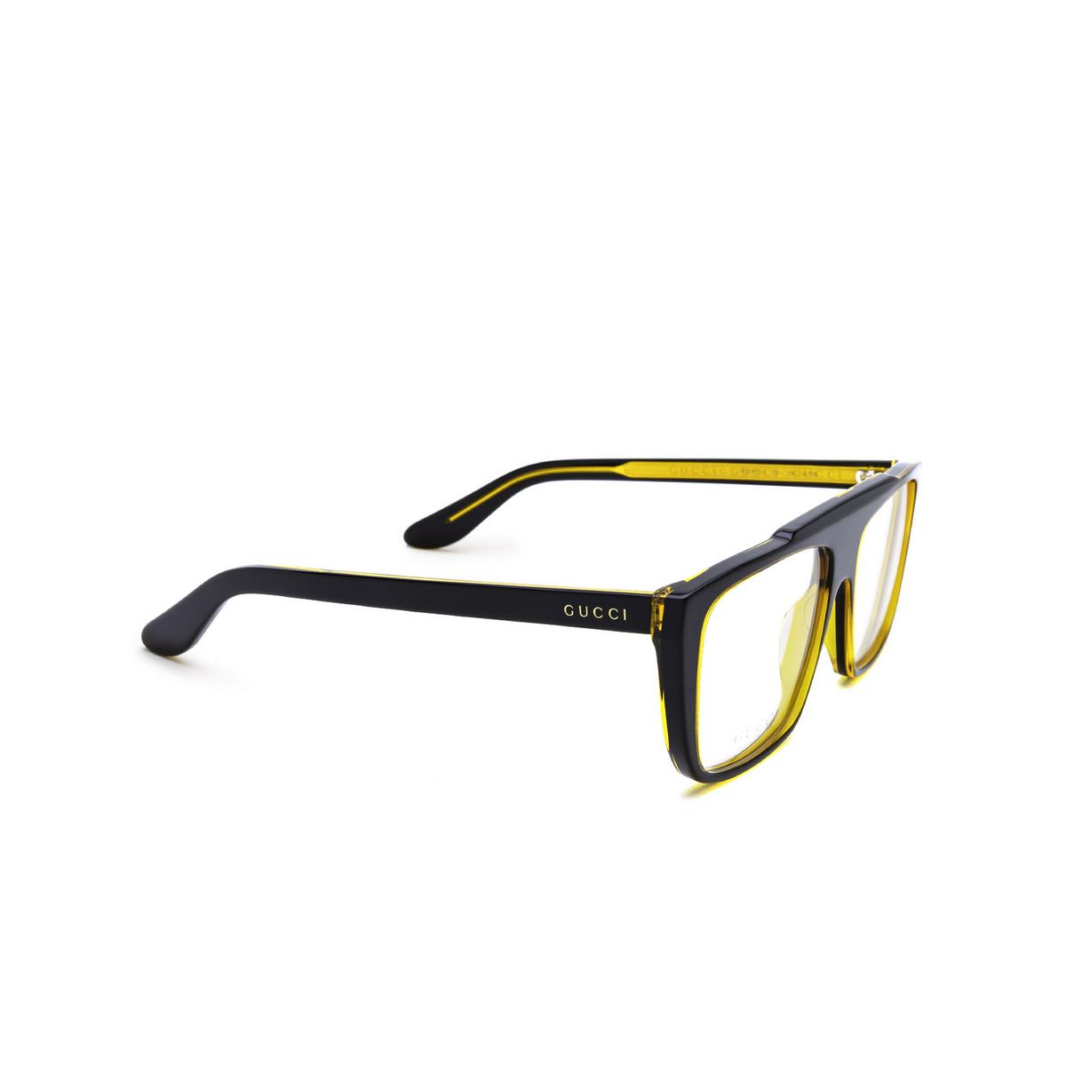 Gucci® Square Eyeglasses: GG1040O color Black & Amber 001 - three-quarters view.