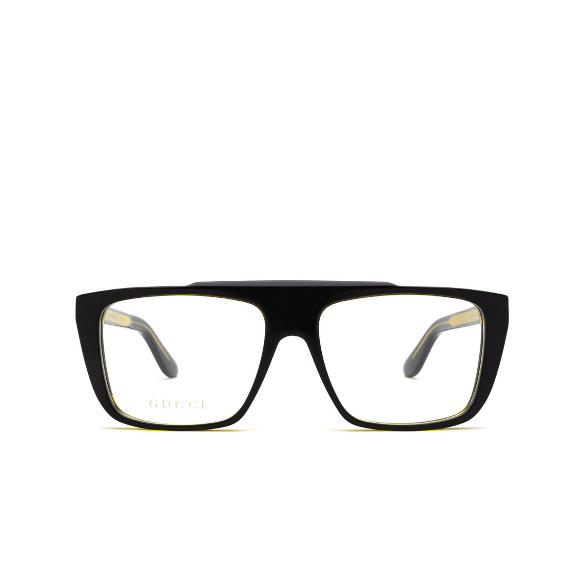 Gucci® Square Eyeglasses: GG1040O color Black & Amber 001 - front view.