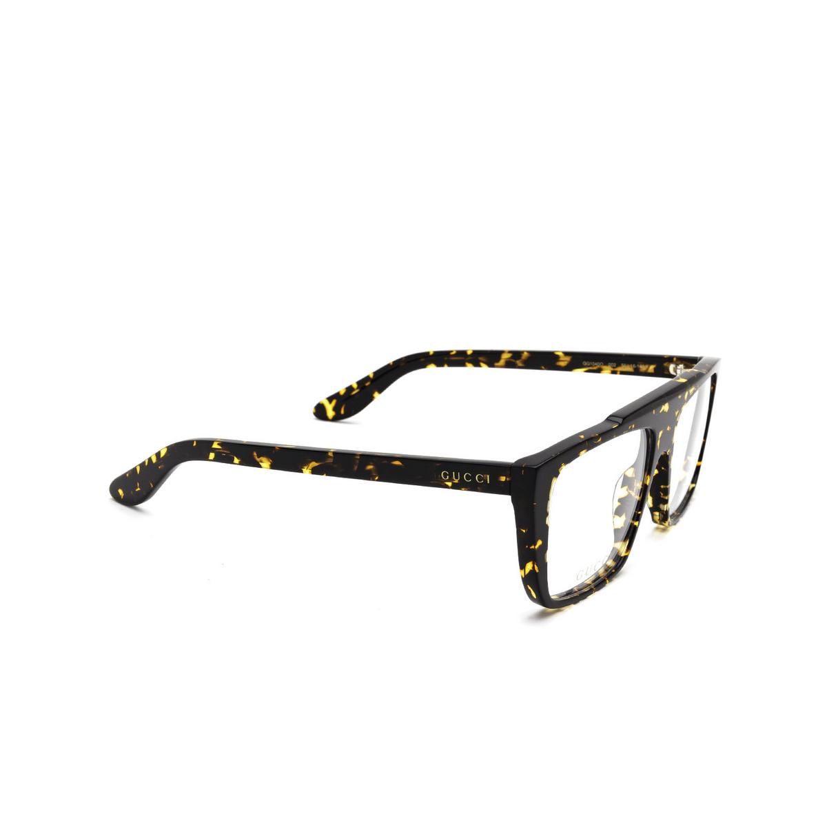 Gucci® Square Eyeglasses: GG1040O color Havana 002 - three-quarters view.