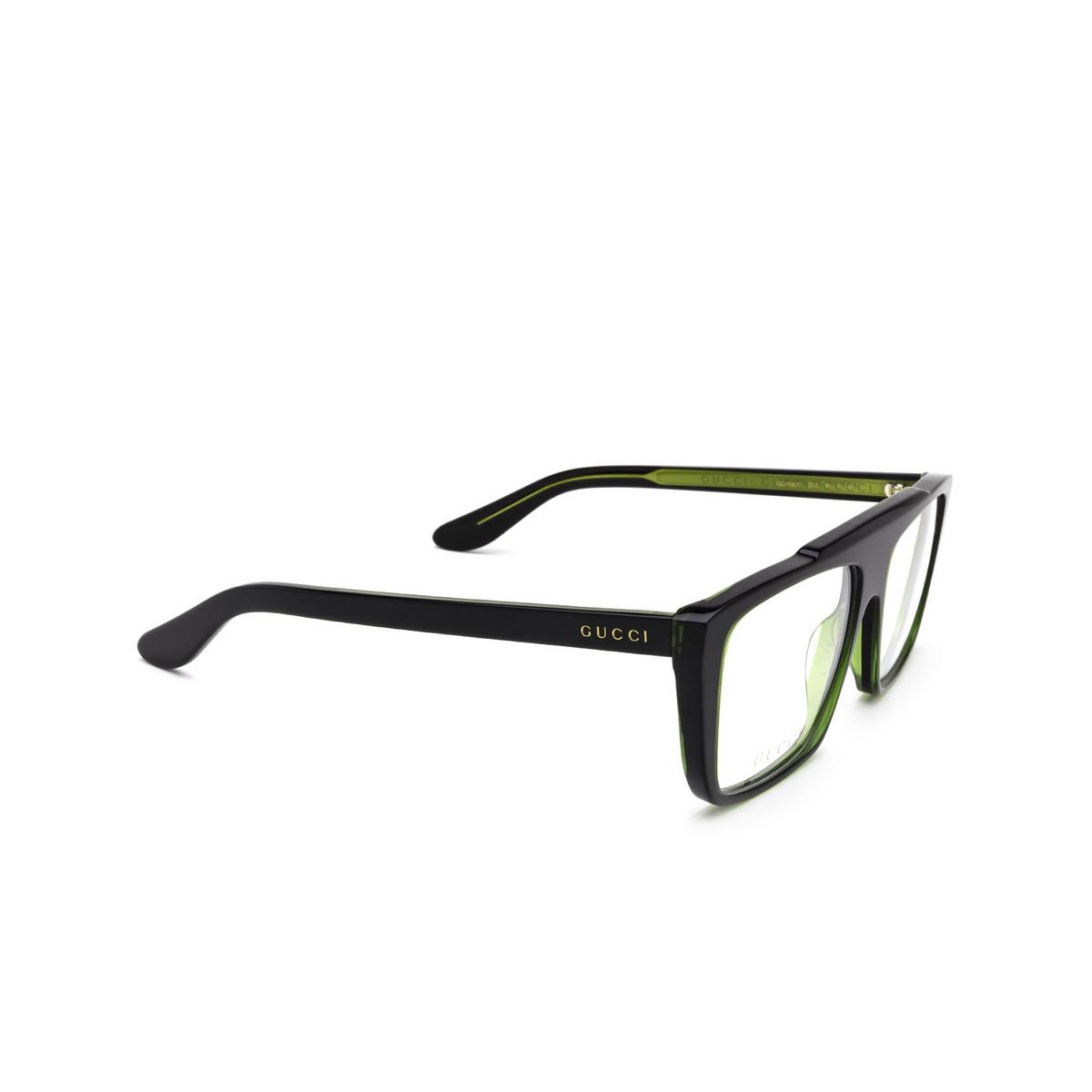 Gucci® Square Eyeglasses: GG1040O color Green & Black 003 - three-quarters view.