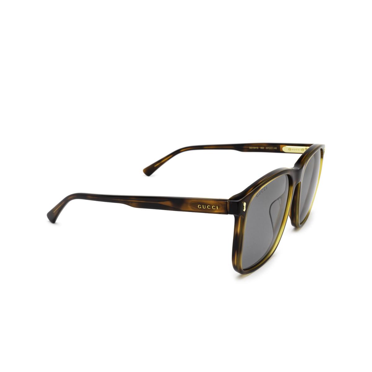Gucci® Square Sunglasses: GG1041S color Havana 002 - three-quarters view.
