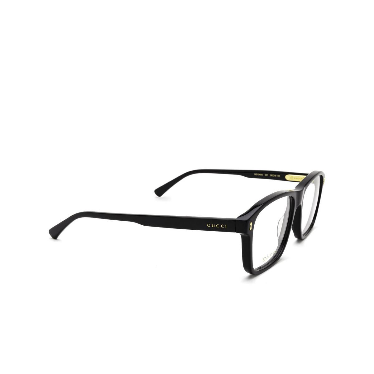 Gucci® Rectangle Eyeglasses: GG1045O color Black 001 - three-quarters view.