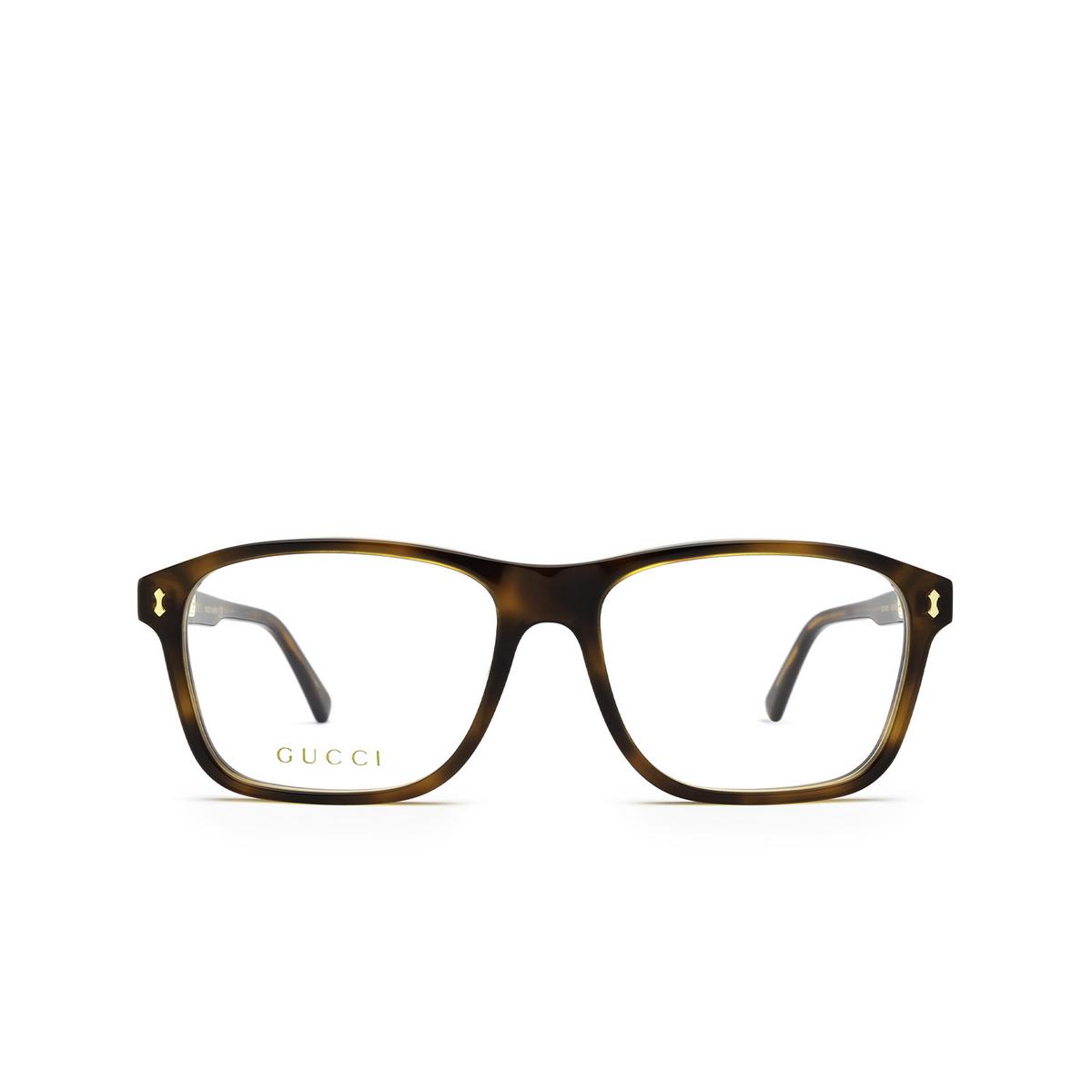 Gucci® Rectangle Eyeglasses: GG1045O color Havana 002 - front view.