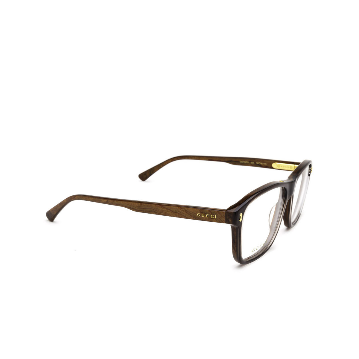 Gucci® Rectangle Eyeglasses: GG1045O color Brown 003 - three-quarters view.