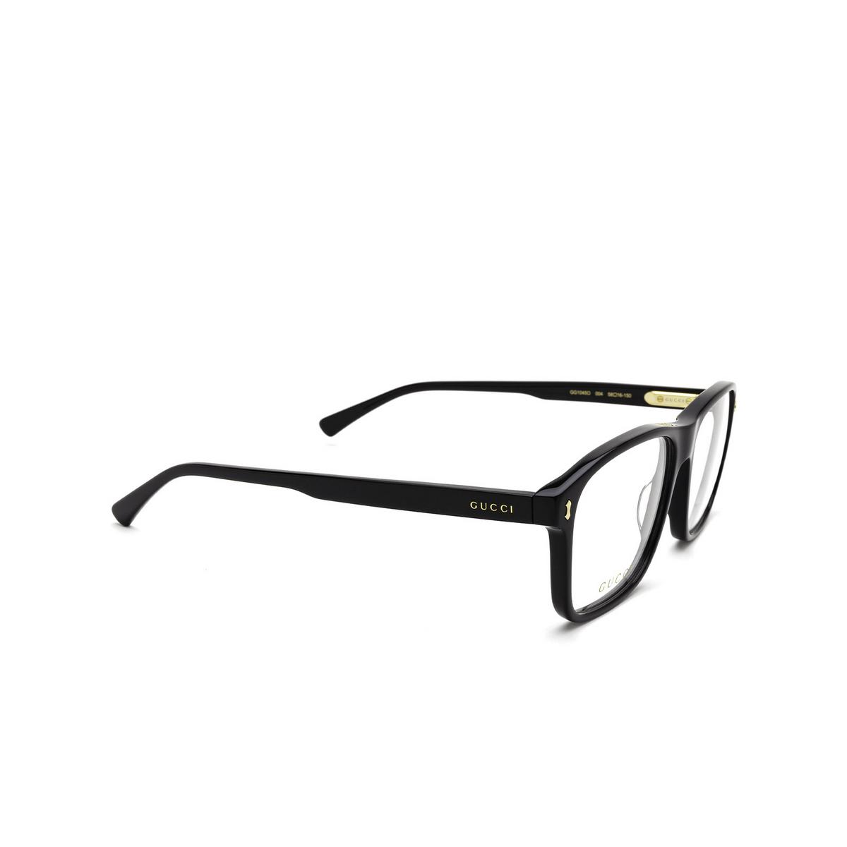 Gucci® Rectangle Eyeglasses: GG1045O color Black 004 - three-quarters view.