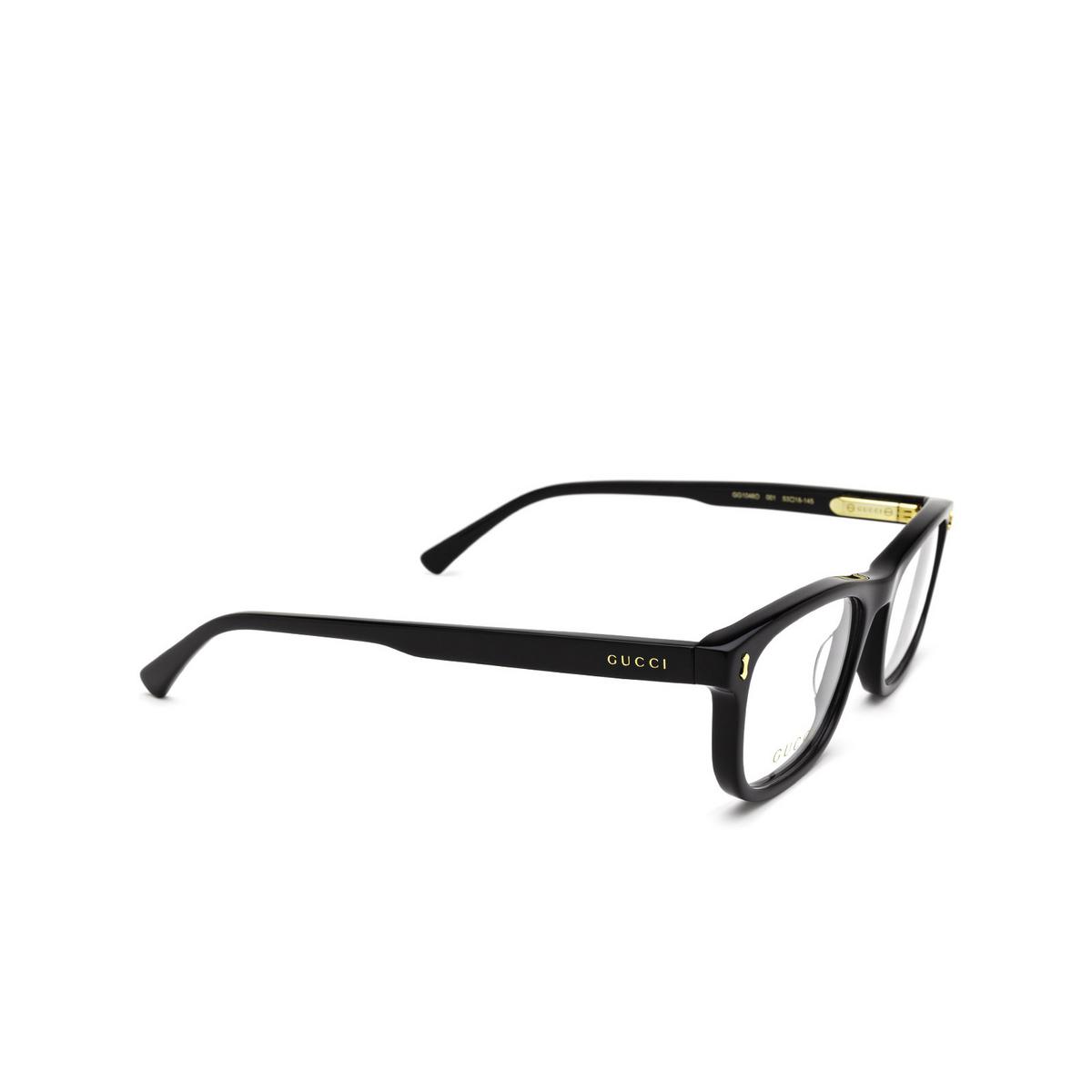 Gucci® Rectangle Eyeglasses: GG1046O color Black 001 - three-quarters view.