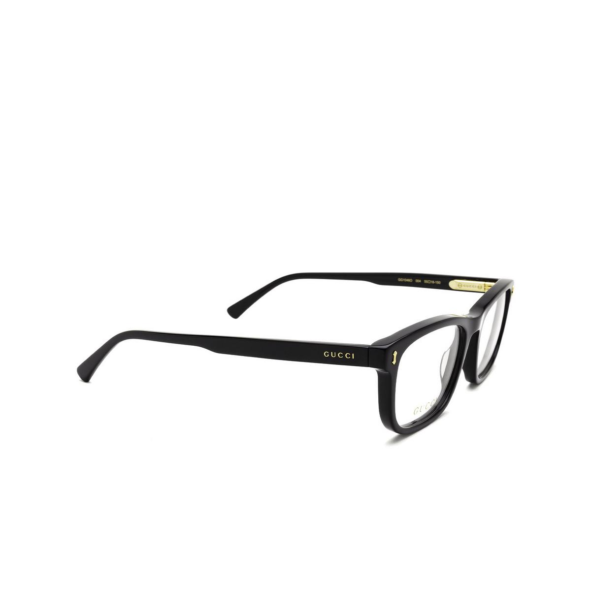 Gucci® Rectangle Eyeglasses: GG1046O color Black 004 - three-quarters view.