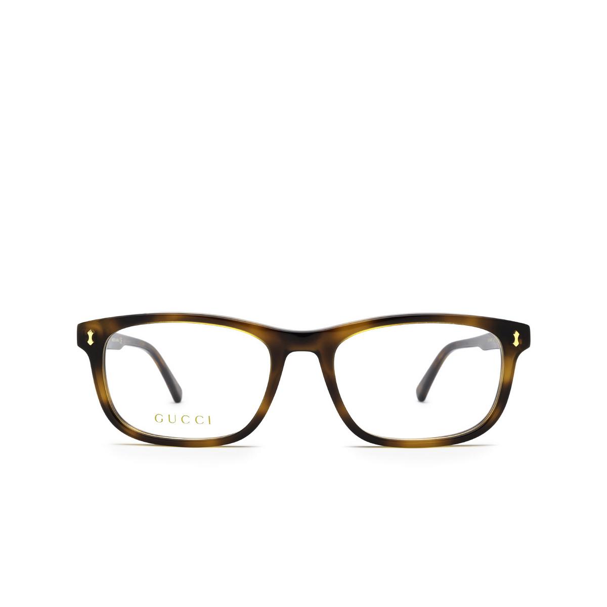Gucci® Rectangle Eyeglasses: GG1046O color Havana 005 - front view.
