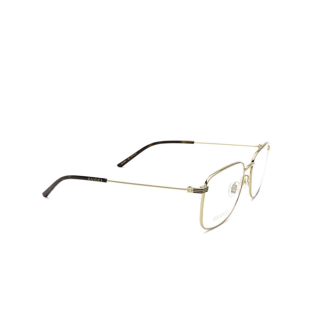 Gucci® Square Eyeglasses: GG1052O color Gold 004 - three-quarters view.