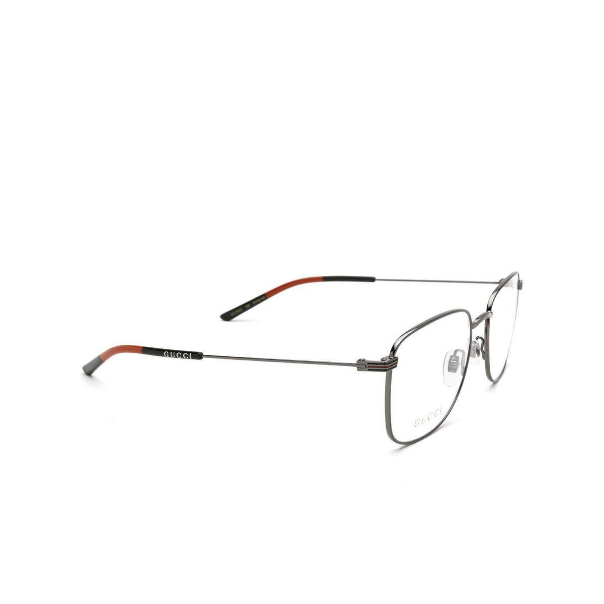Gucci® Square Eyeglasses: GG1052O color Ruthenium 005 - three-quarters view.