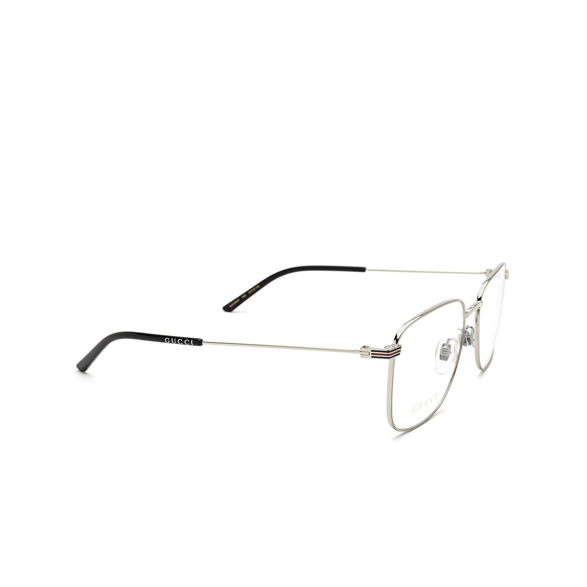 Gucci® Square Eyeglasses: GG1052O color Silver 006 - three-quarters view.