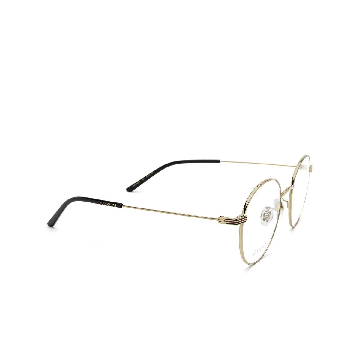 Gucci® Round Eyeglasses: GG1054OK color Gold 001 - three-quarters view.