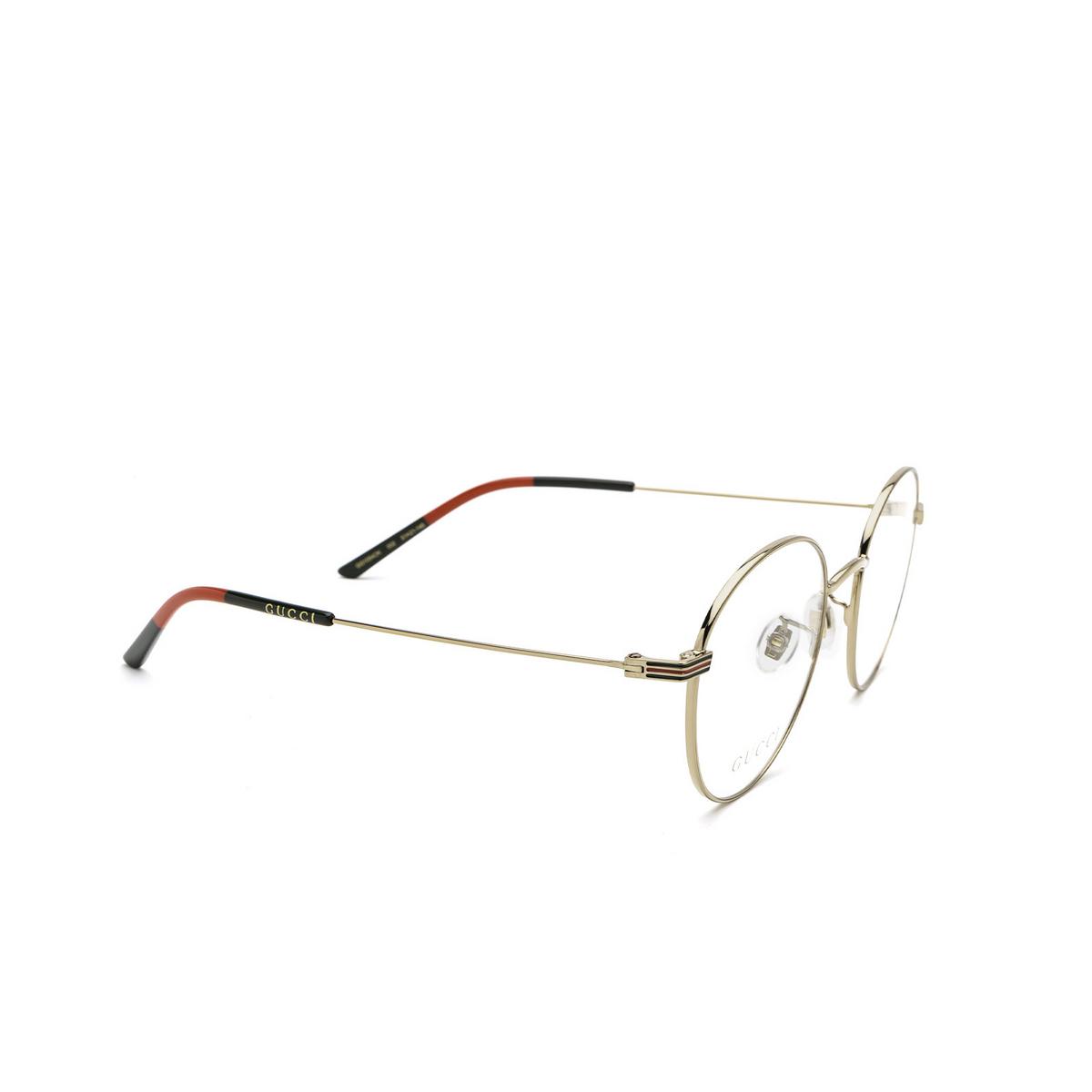 Gucci® Round Eyeglasses: GG1054OK color Gold 002 - three-quarters view.