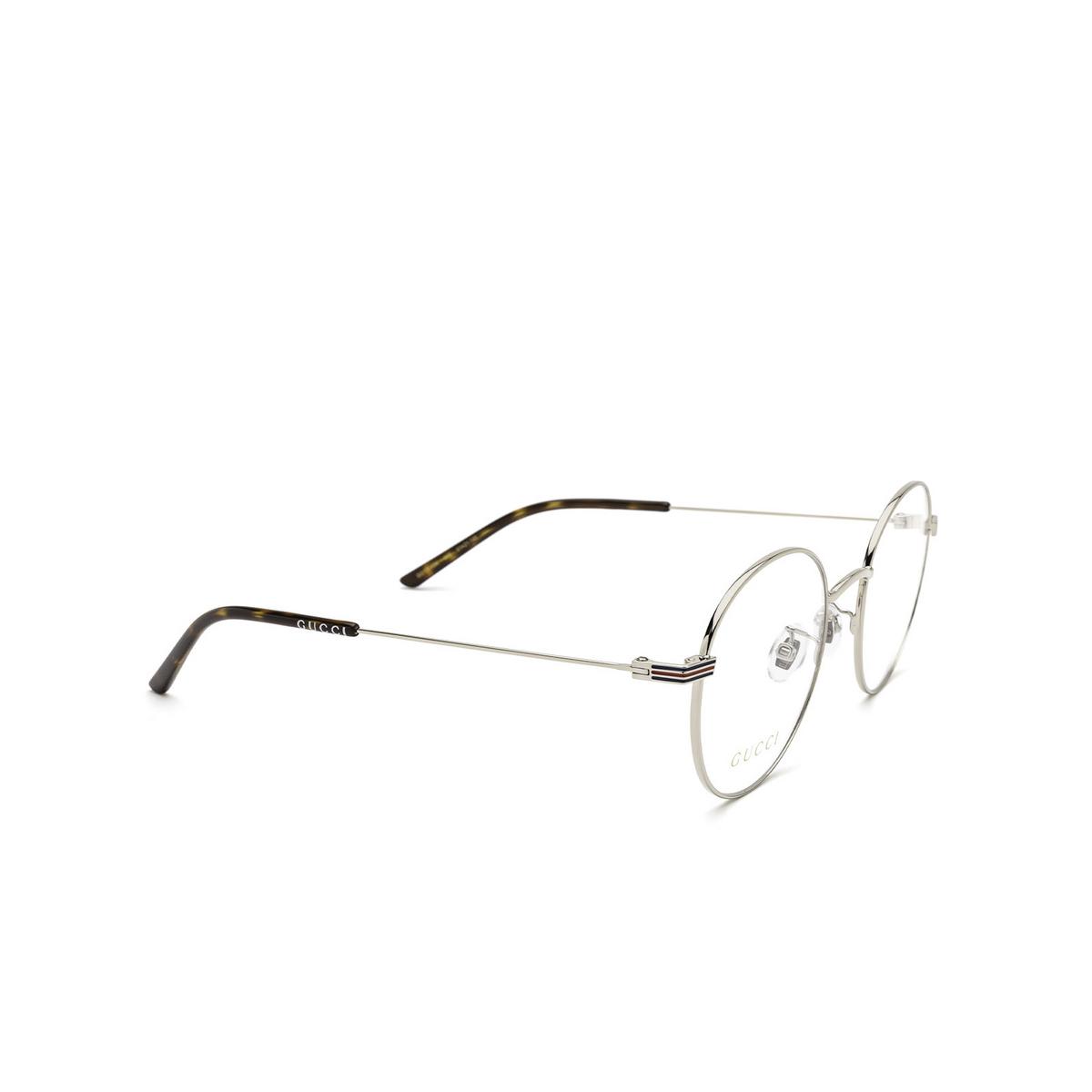Gucci® Round Eyeglasses: GG1054OK color Silver 003 - three-quarters view.