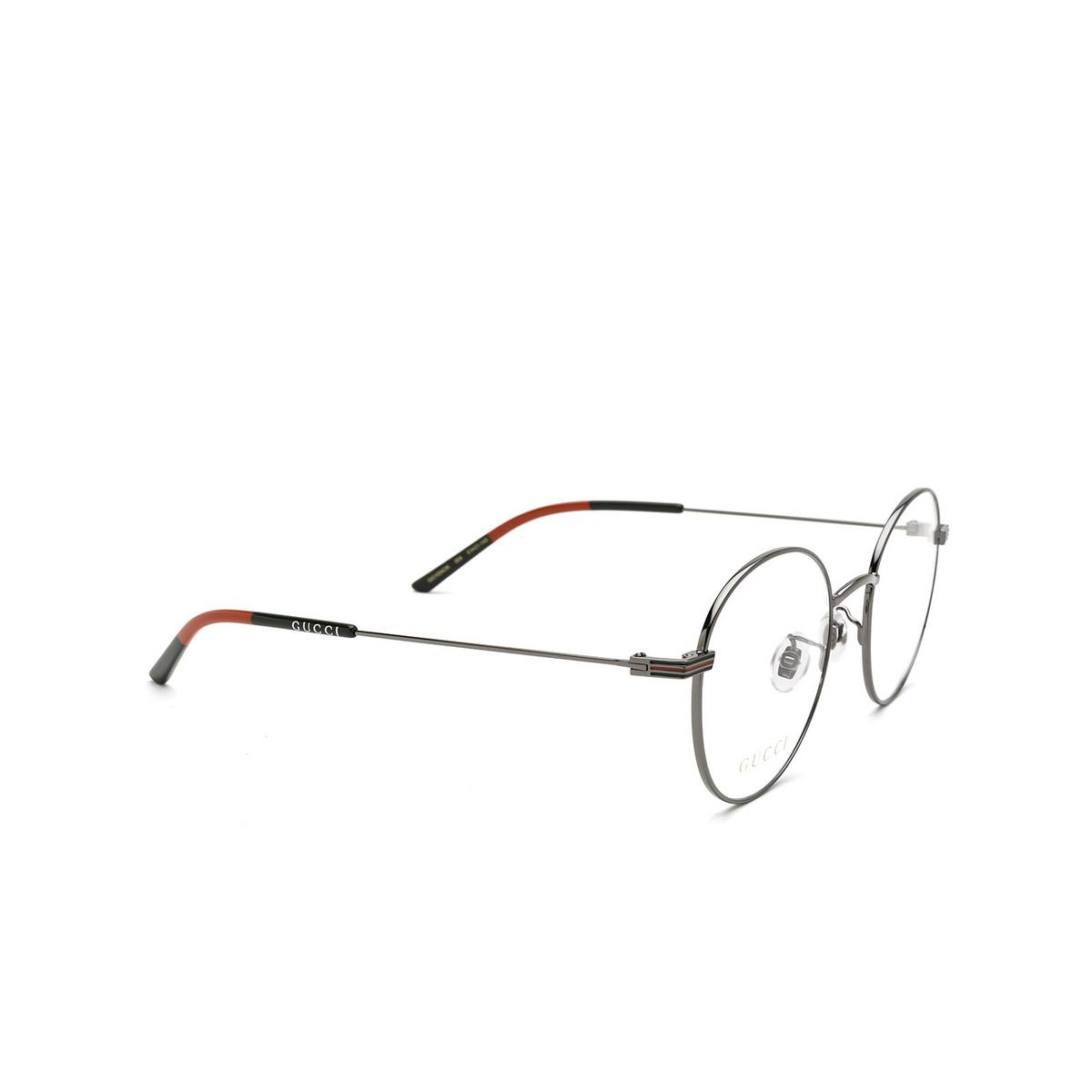 Gucci® Round Eyeglasses: GG1054OK color Ruthenium 004 - three-quarters view.