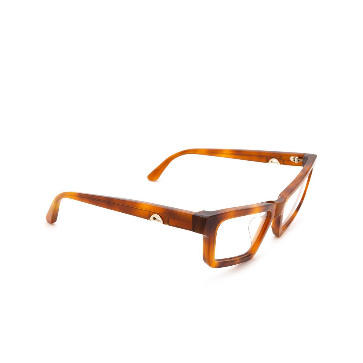 Huma® Cat-eye Eyeglasses: Dea color Light Havana 01V - three-quarters view.