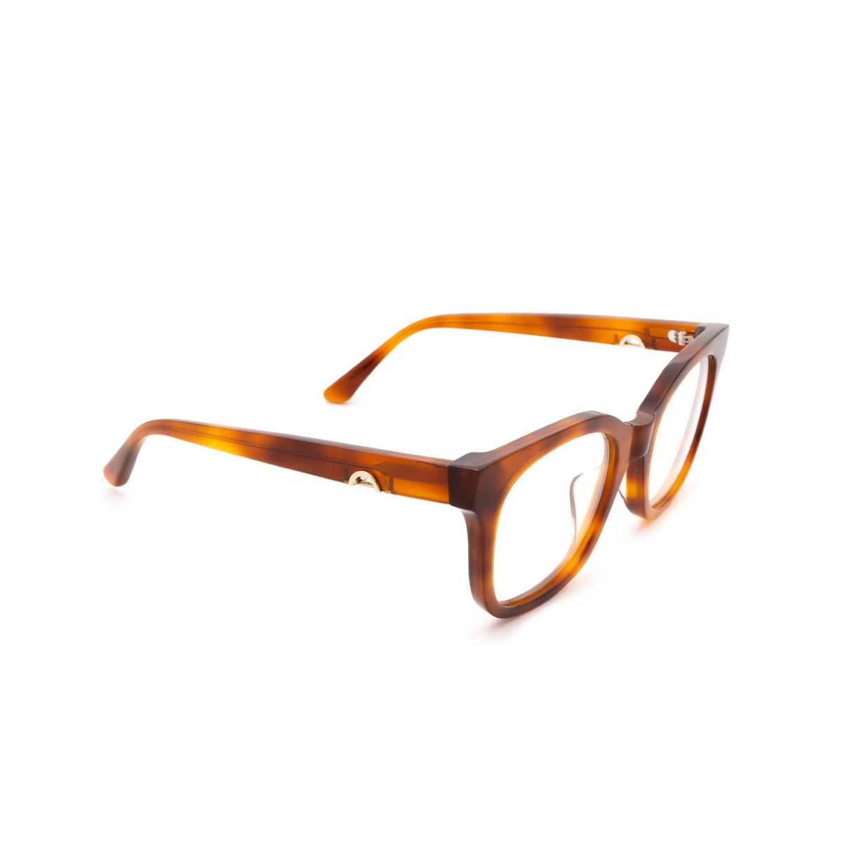 Huma® Square Eyeglasses: Liz color Light Havana 01V - three-quarters view.