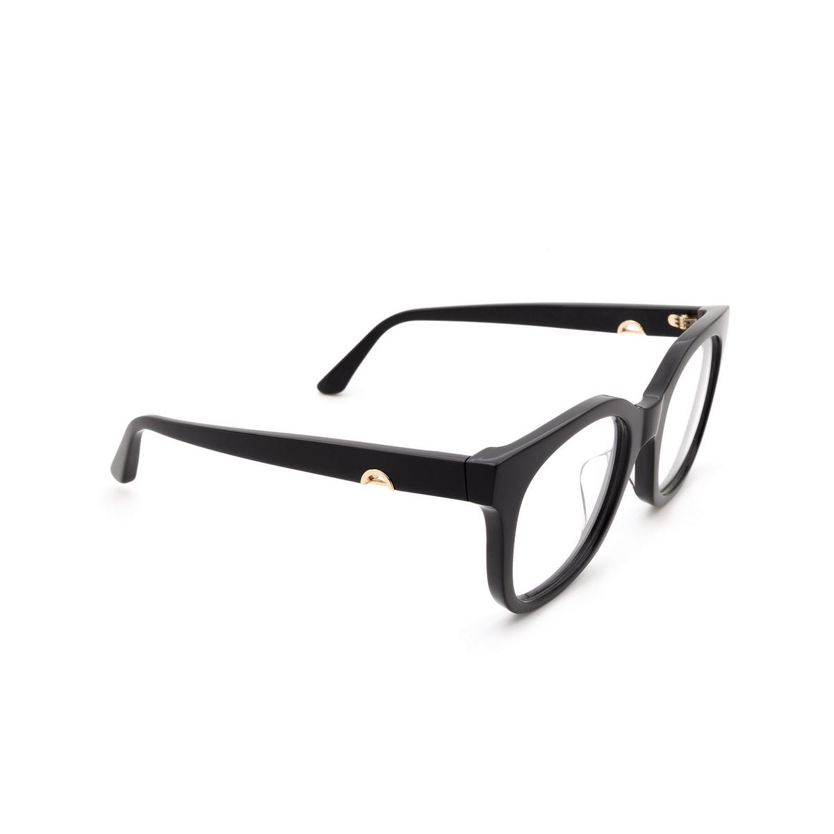 Huma® Square Eyeglasses: Liz color Black 06V - three-quarters view.