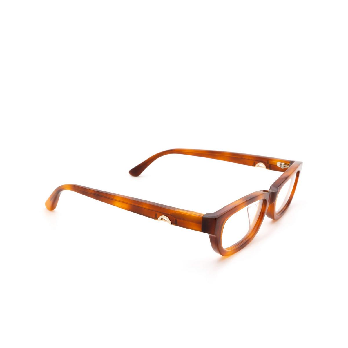 Huma® Rectangle Eyeglasses: Lou color Light Havana 01V - three-quarters view.