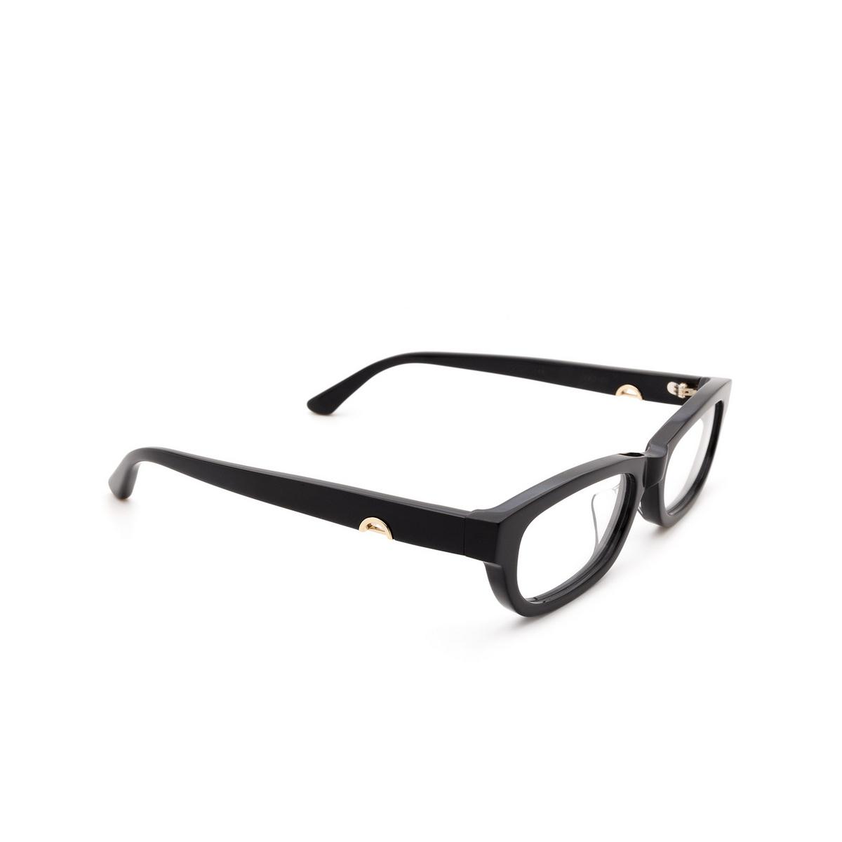 Huma® Rectangle Eyeglasses: Lou color Black 06V - three-quarters view.
