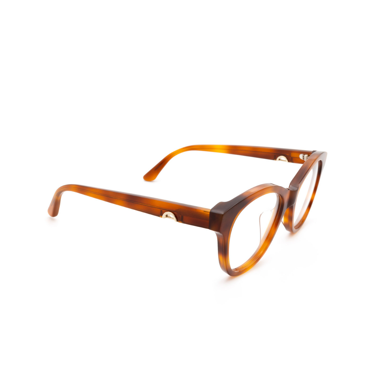 Huma® Cat-eye Eyeglasses: Mia color Light Havana 01V - three-quarters view.