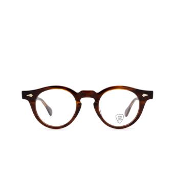 Julius Tart Optical® Round Eyeglasses: Harold color Demi-amber.