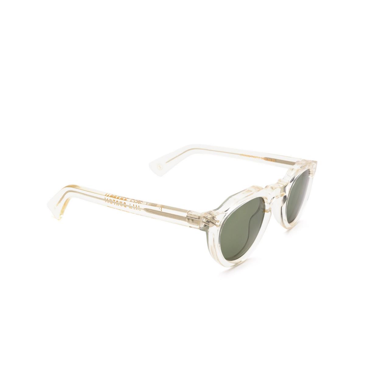 Lesca® Irregular Sunglasses: Crown Panto X Mia Burton color 21 - GROUNDED GREEN - three-quarters view.