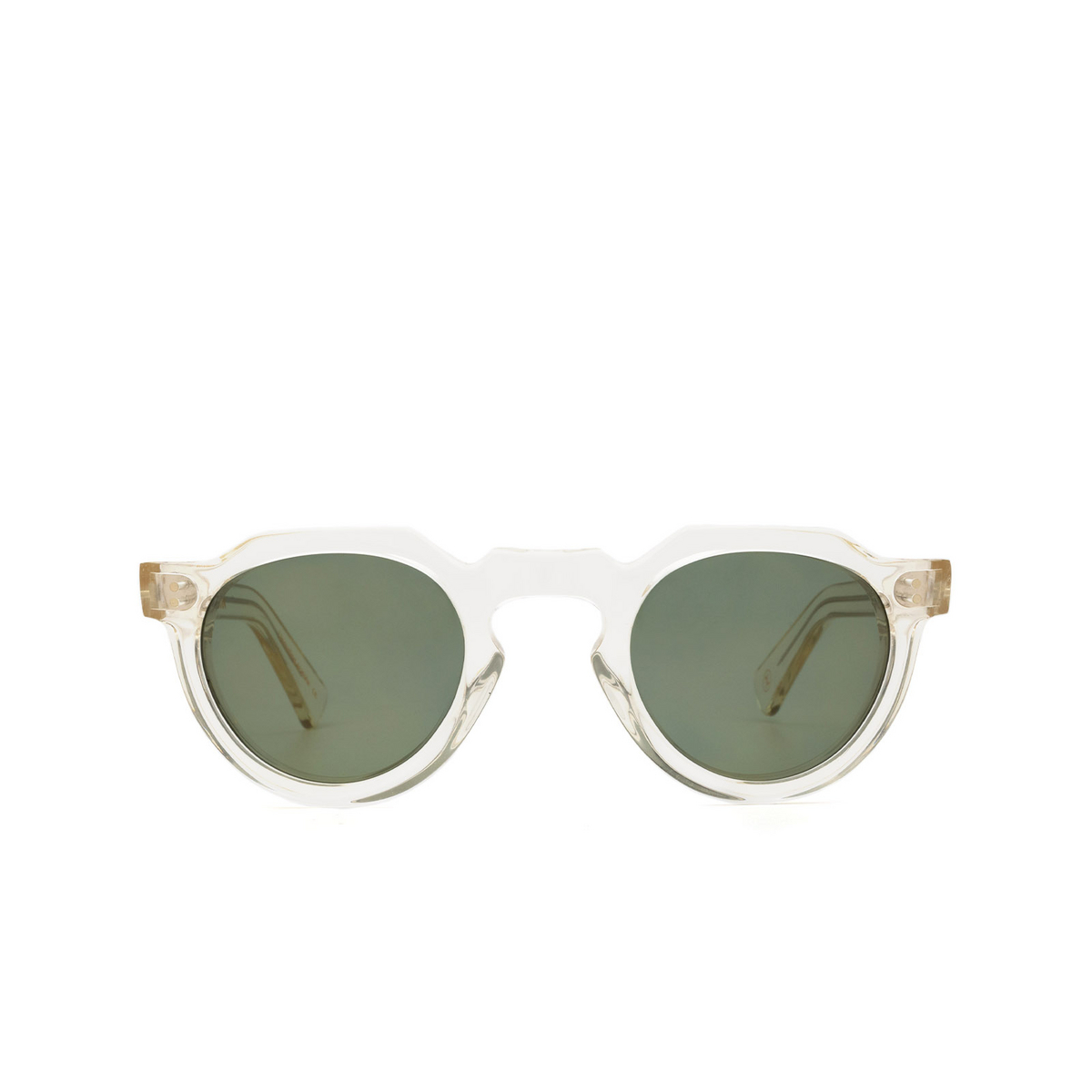 Lesca® Irregular Sunglasses: Crown Panto X Mia Burton color 21 - GROUNDED GREEN - front view.