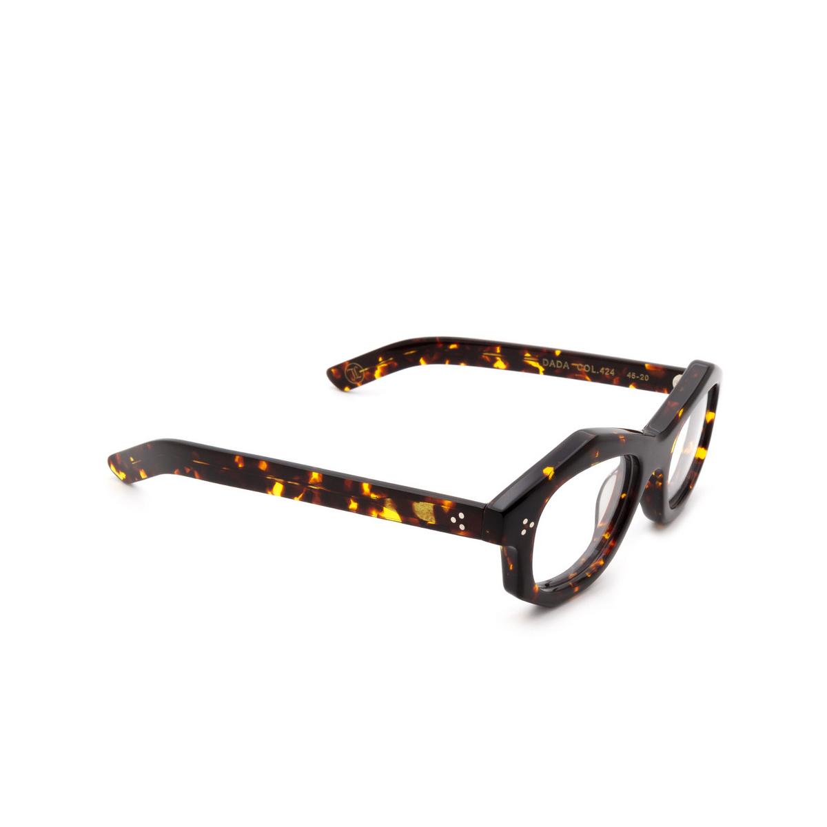 Lesca® Irregular Eyeglasses: Dada color Écaille Foncé 424 - three-quarters view.