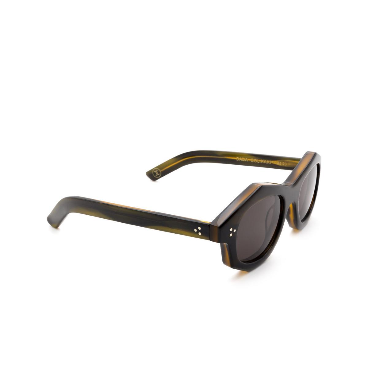 Lesca® Irregular Sunglasses: Dada Sun color Kaki - three-quarters view.