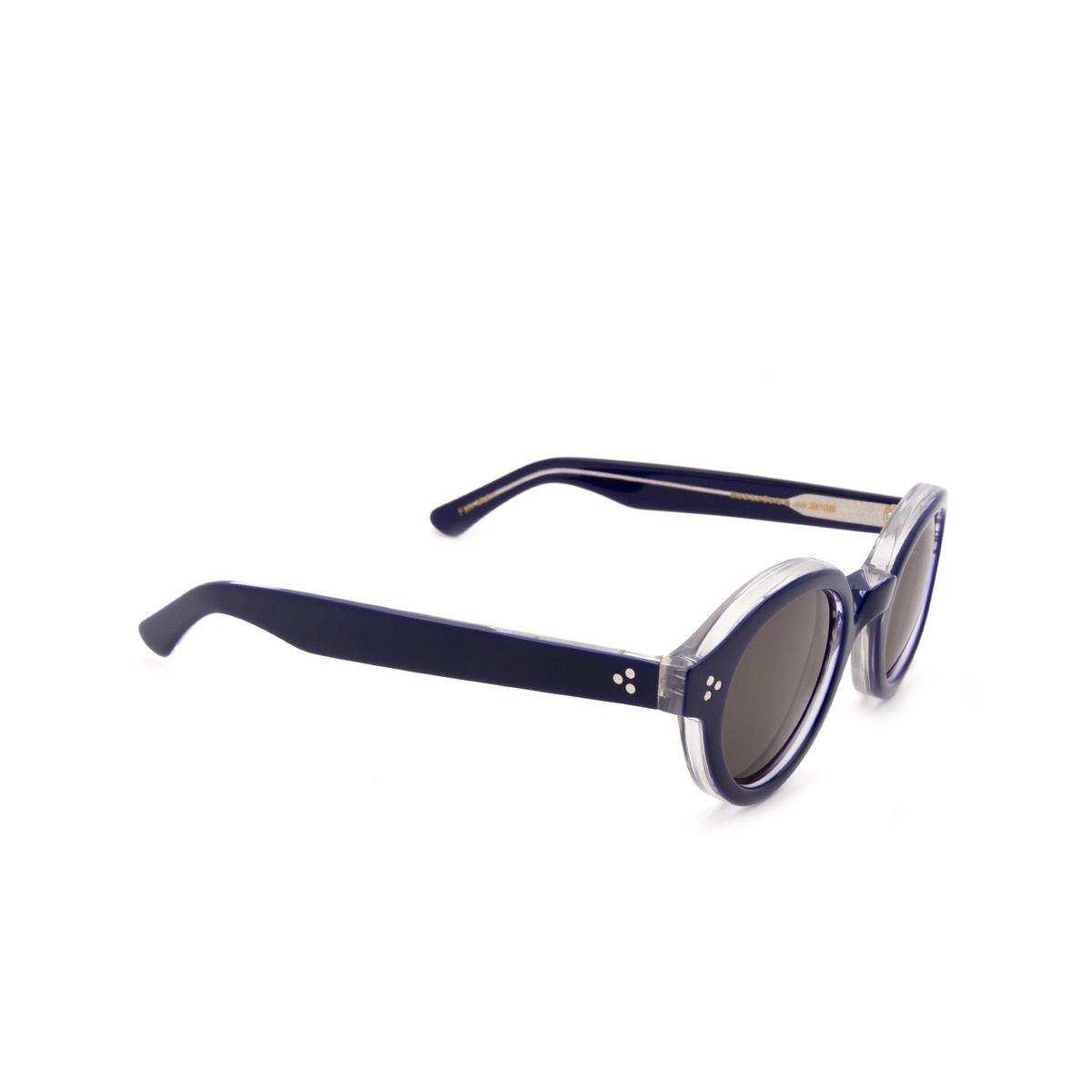 Lesca® Round Sunglasses: La Corbs color Blue 20108 - three-quarters view.