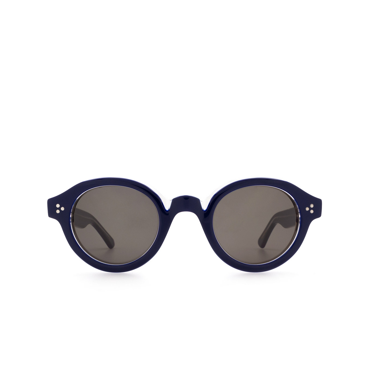 Lesca® Round Sunglasses: La Corbs color Blue 20108 - front view.