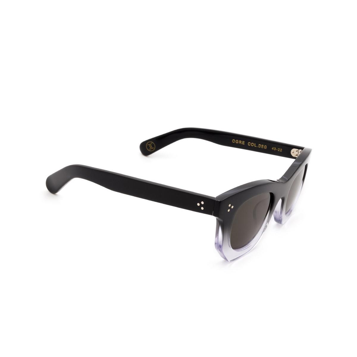 Lesca® Irregular Sunglasses: Ogre Sun color Black Degraded Deg - three-quarters view.