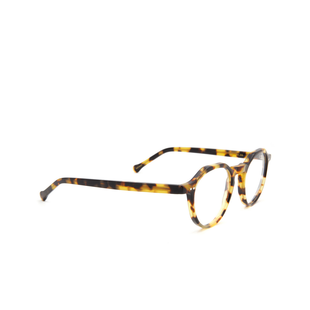 Lesca® Irregular Eyeglasses: P2 color Light Tortoise 228 - three-quarters view.