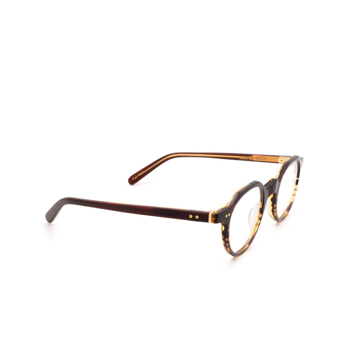 Lesca® Irregular Eyeglasses: P21 color Dark Havana 22 - three-quarters view.
