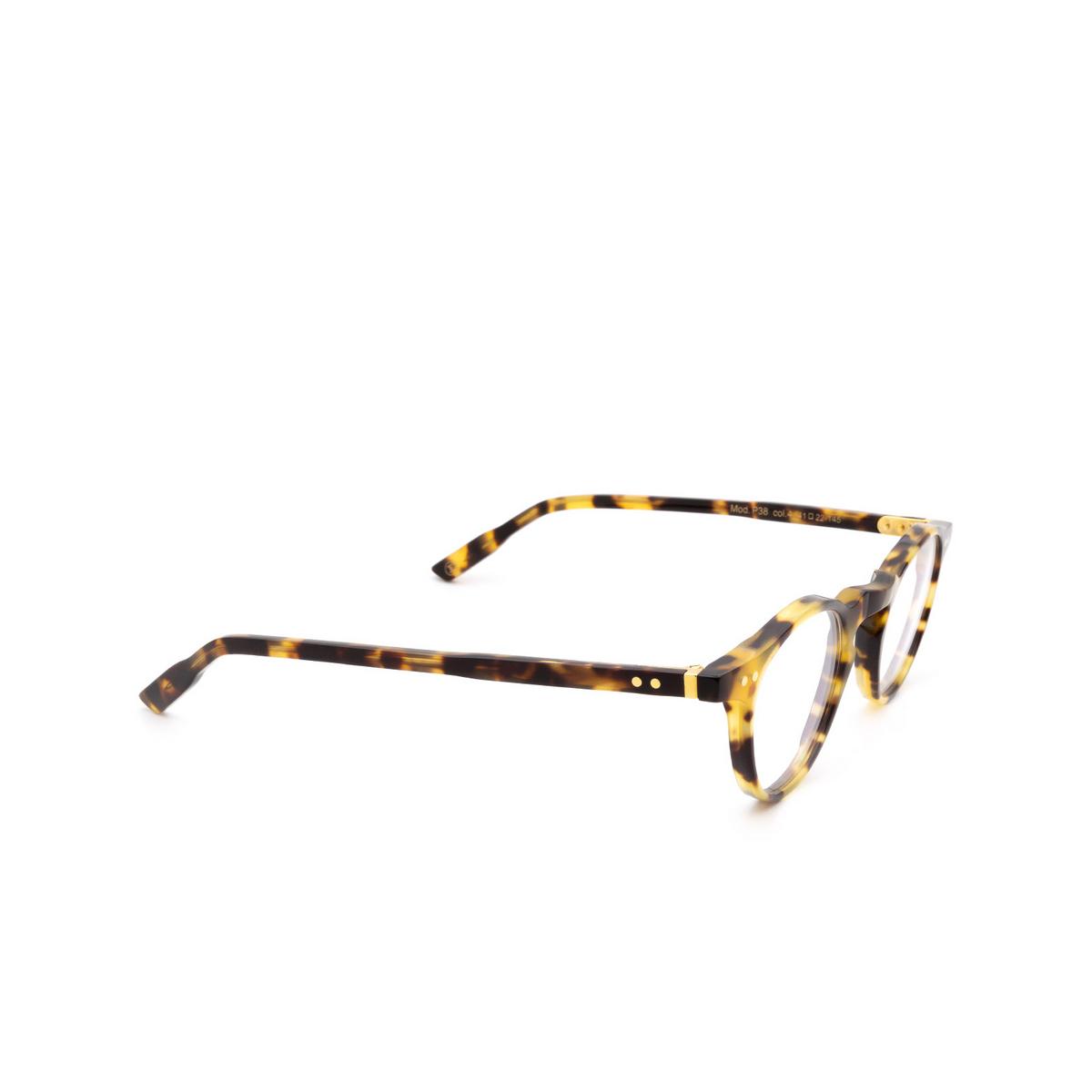 Lesca® Round Eyeglasses: P38 color Havana 4 - three-quarters view.