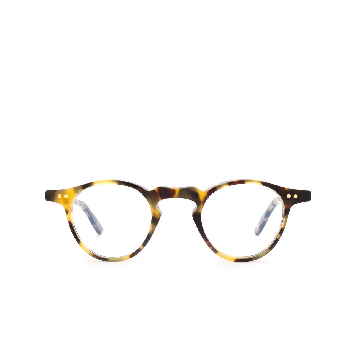 Lesca® Round Eyeglasses: P38 color Havana 4 - front view.