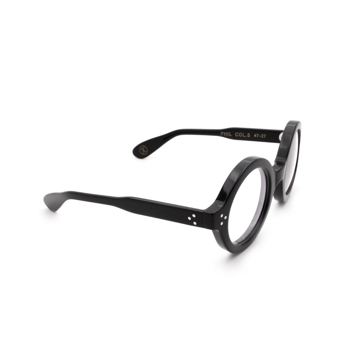 Lesca® Round Eyeglasses: Phil color Black 5 - three-quarters view.