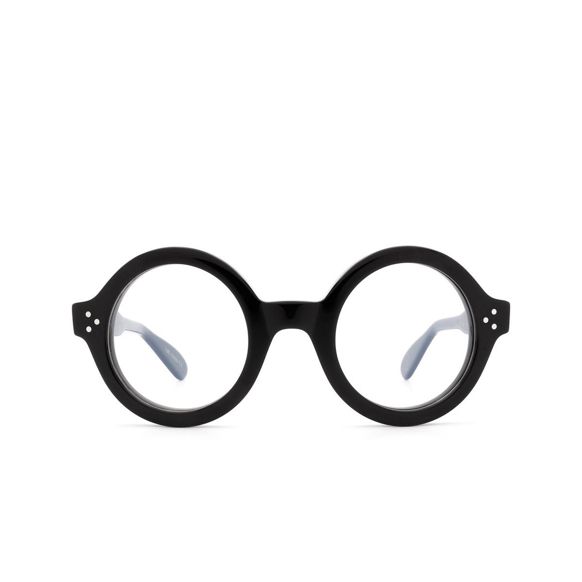 Lesca® Round Eyeglasses: Phil color Black 5 - front view.